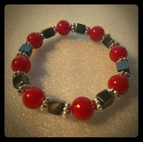 Jewelry - Stretch Bracelet - Red Coral & Hematite - jewelry